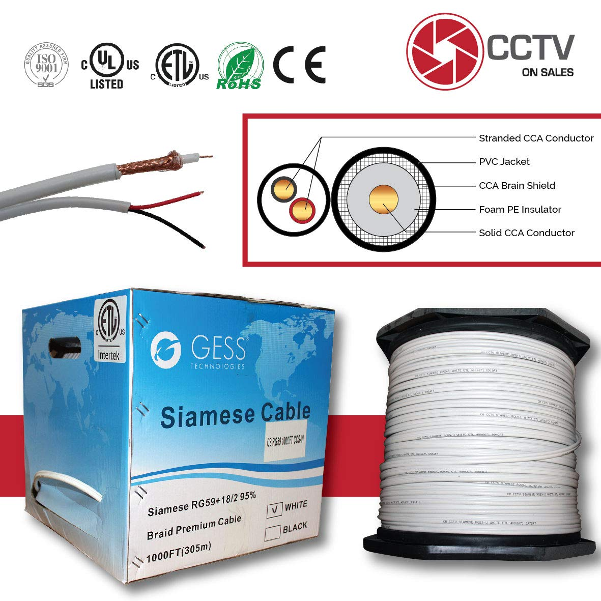 CCTVOnSales RG59 1000FT Bulk Siamese Combo Coaxial Cable CCS Copper Clad Steel White, 20AWG Video Plus 18/2 Power Cable, CMR Rated (in-Wall Installations) Warranty Up to 5MP ETL Listed