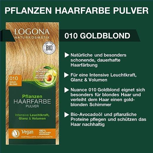 LOGONA Naturkosmetik Tinte para el cabello vegetal en polvo 010 rubio dorado, vegano y natural, color rubio natural con henna, coloración, 100 g