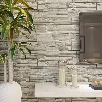 67a092172a248 HANMERO® Murales de pared papel pintado imitación ladrillo piedras papel de  pared dormitorios salón hotel fondo de TV color color gris