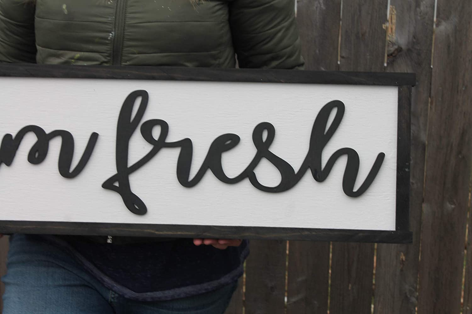 Amazon com farm fresh wood sign raised text country couch sign large over sized rustic primitive shabby chic 3d country living handmade