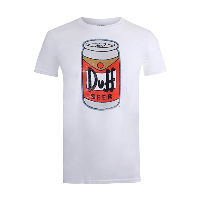 Simpsons Beer Can, Camiseta para Hombre, Blanco, Small