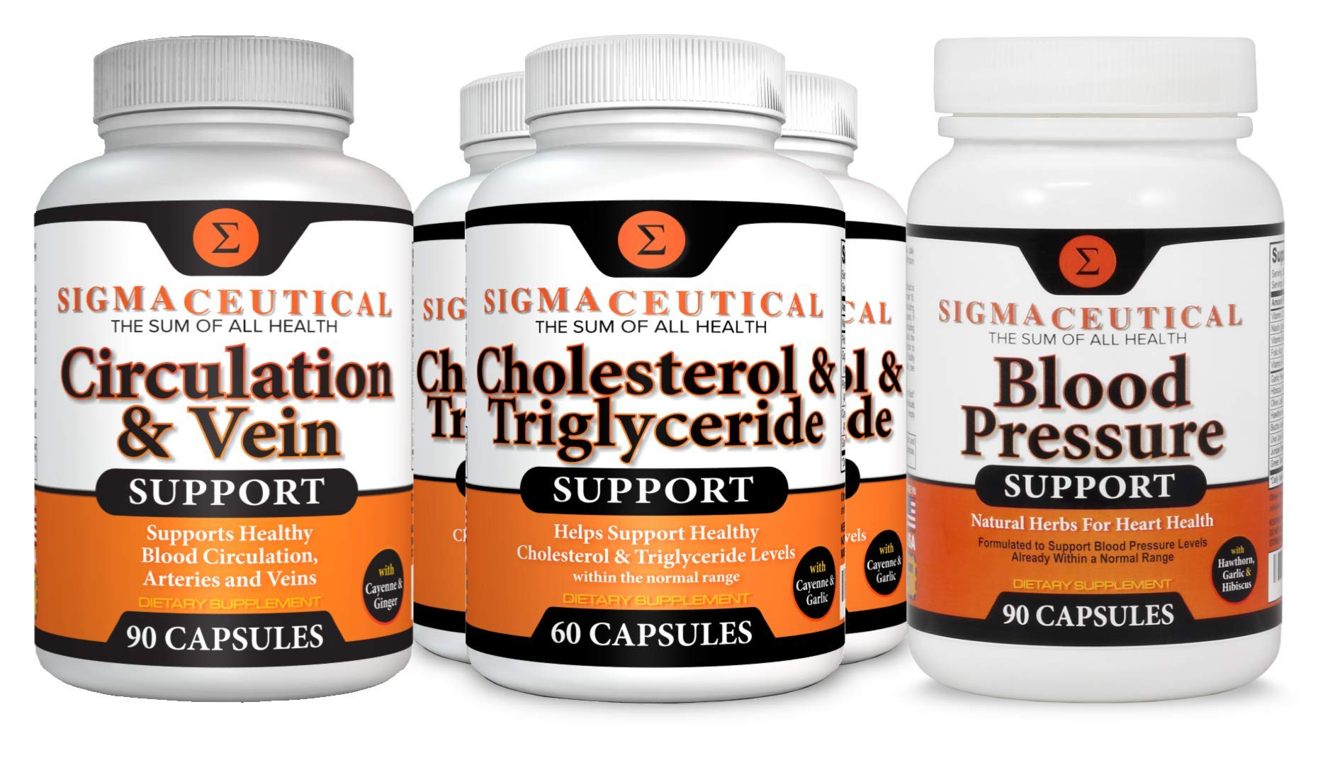 Cardio Big Bundle - Blood Pressure, Cholesterol Lowering & Circulation Supplements – 3 Month Supply