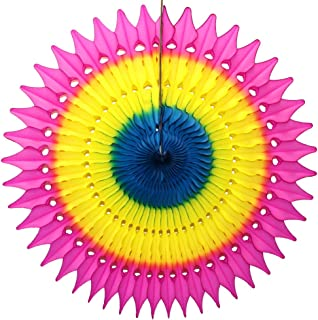 """product image for 21"""" Tissue Paper Fan, 3-Pack (Rainbow - Cerise/Yellow/Blue)"""