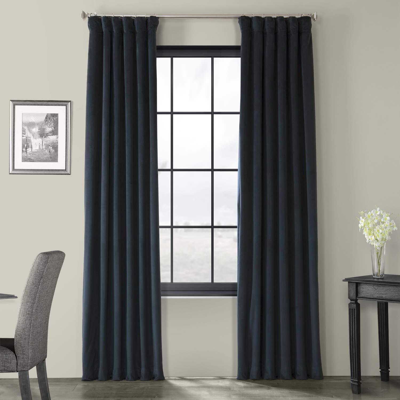 Half Price Drapes VPCH-194023-96 Signature Blackout Velvet Curtain, Midnight Blue