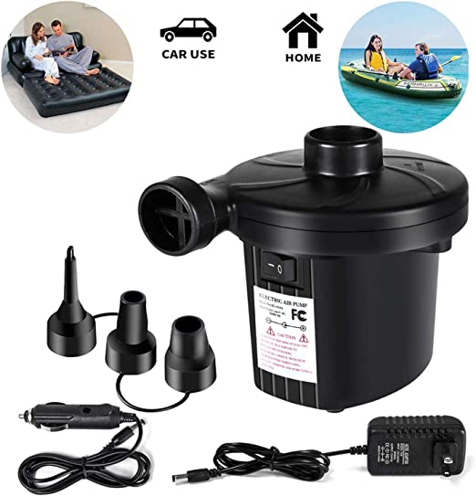 3 Nozz Electric Air Pump Quick-fill Portable Inflator Deflator Air Mattress Pump
