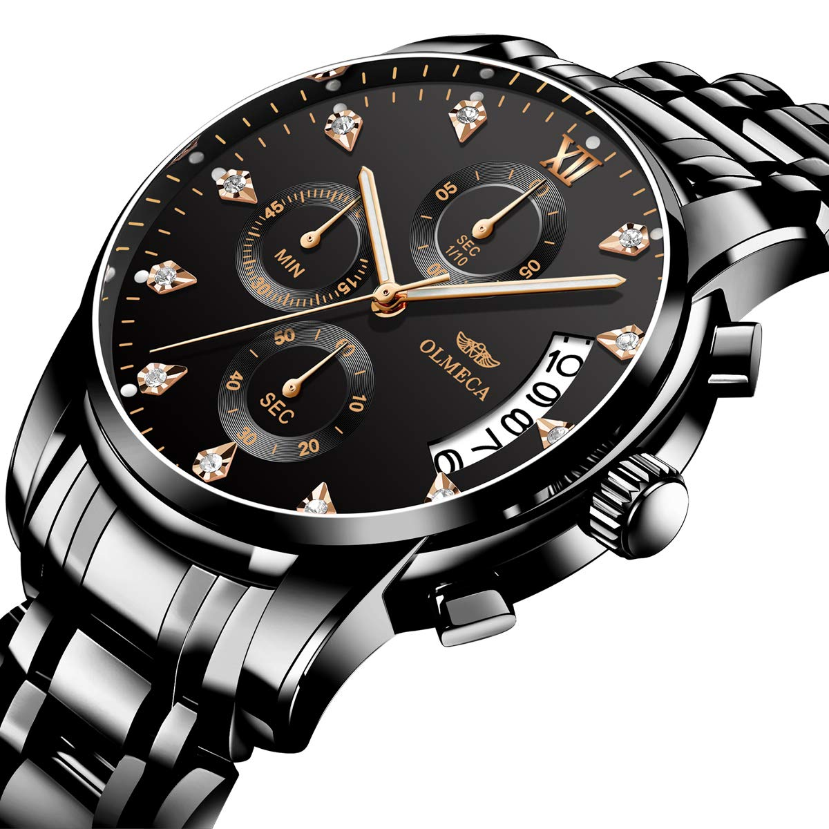 Amazon.com: OLMECA Mens Watches Luxury Wristwatches Rhinestone Watches Waterproof Fashion Quartz Watches Stainless Steel Black Watch (A-Black): Watches