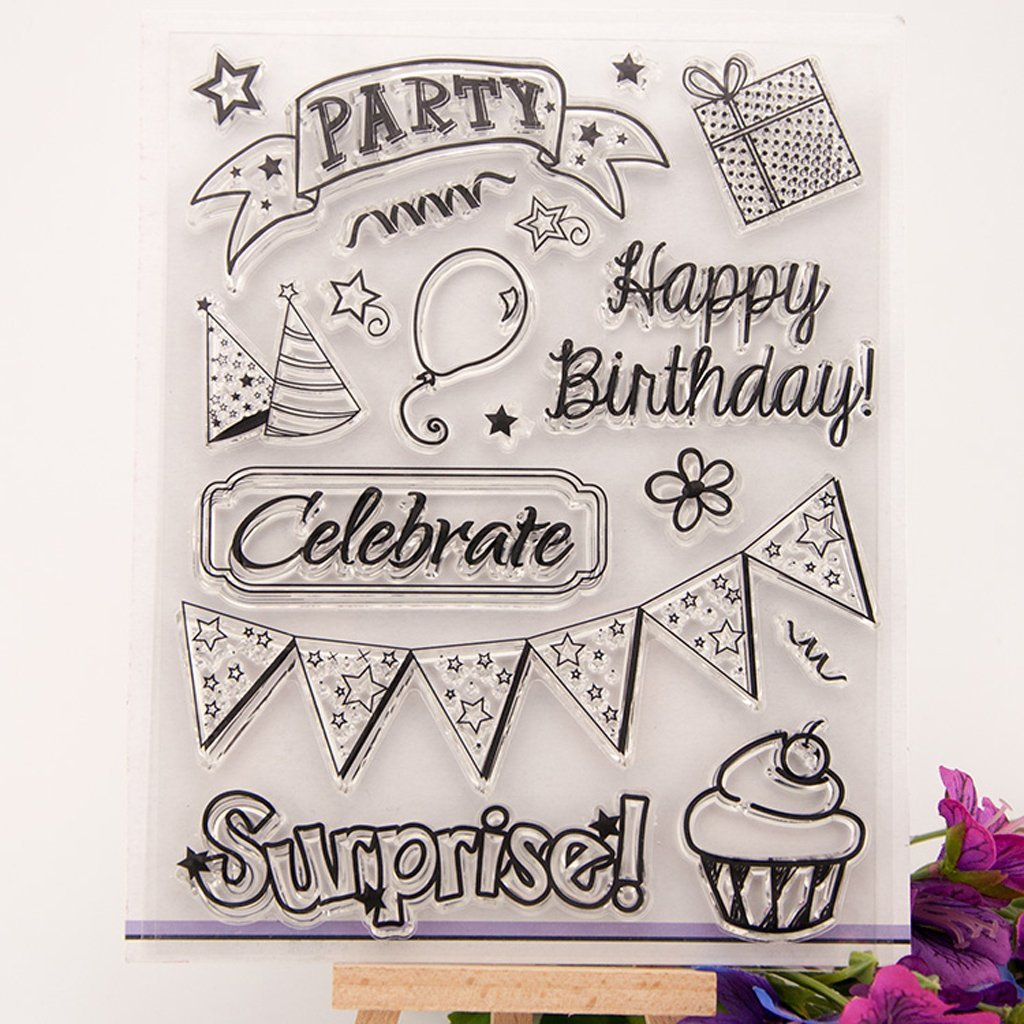 Yevison Clear Silicone Stamp Sheet Printing Scrapbooking Embossing Stamper Transparent Cling Seal for DIY Scrapbook Photo Albums Paper Notebook Card Making Arts Crafts Supplies Happy Birthday & Cake 2 Durable and Useful