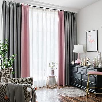 Nclon Zweifarbig Splice Vorhänge Gardinen,Baumwolle Hanf Licht Blockiert  Blickdicht Schlafzimmer Wohnzimmer Vorhänge Gardinen Krawatte