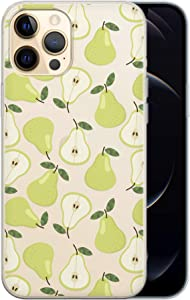 Toik Case Compatible with iPhone 12 Pro Max Mini 11 SE 2020 Xr 10 Xs 8 Plus 7 6s Slim Protective TPU Food Silicone Green Pattern Fruits Pear Cute Clear Simple Cover Flexible Lightweight phpat183