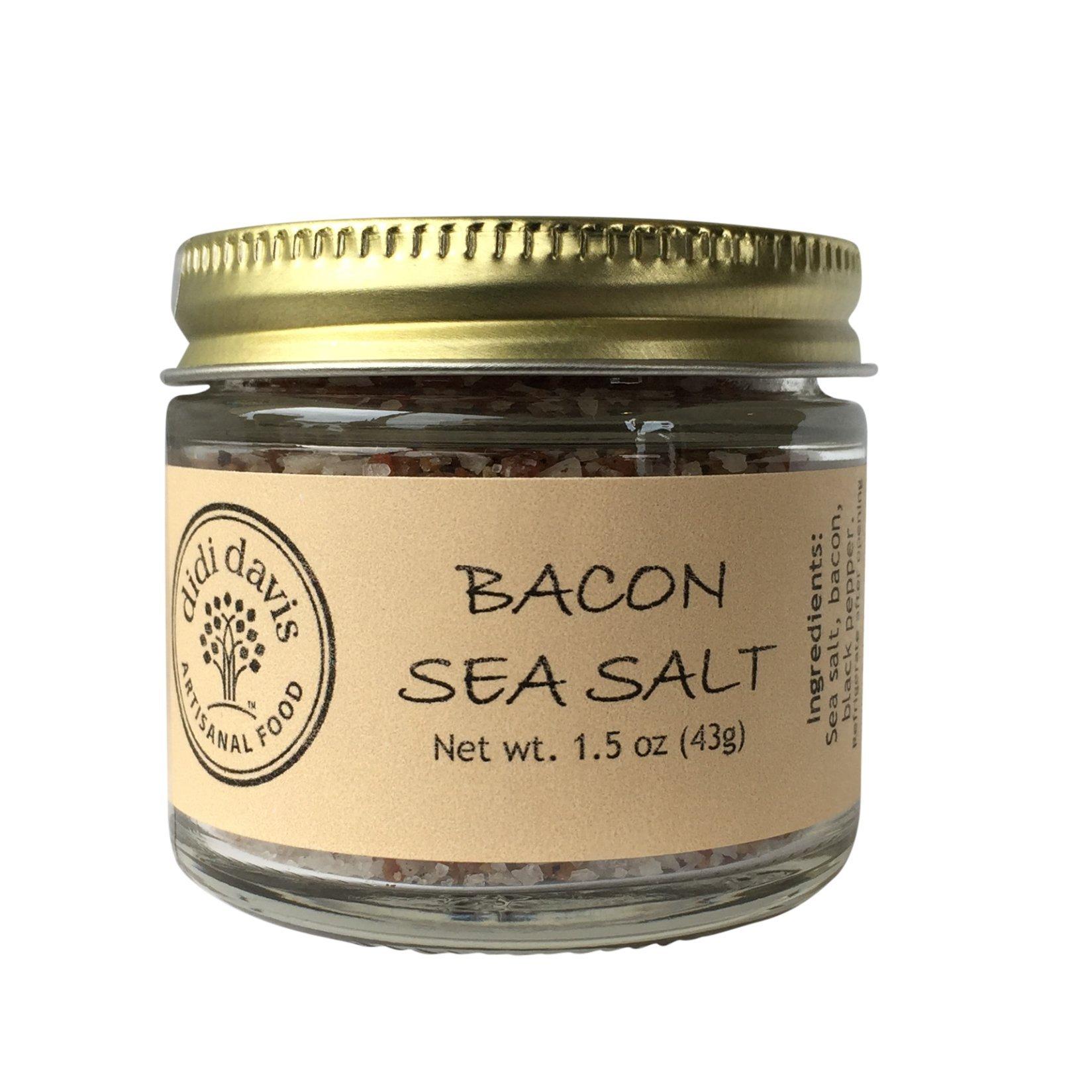 didi davis food (Salt Traders) Real Smoked Bacon Flavored Sea Salt - 1.5 oz Net Wt. (Glass Jar)