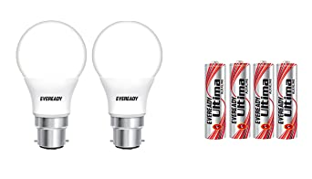 Eveready Base B22D 7 Watt LED Bulb  Pack of 2, Cool Day Light  with Free 4 AAA Alkaline Batteries