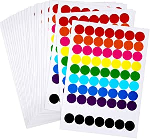 Boao Colored Round Dot Stickers Circle Dot Labels, Neon Colors Labels (1400 Pieces, 25 mm)