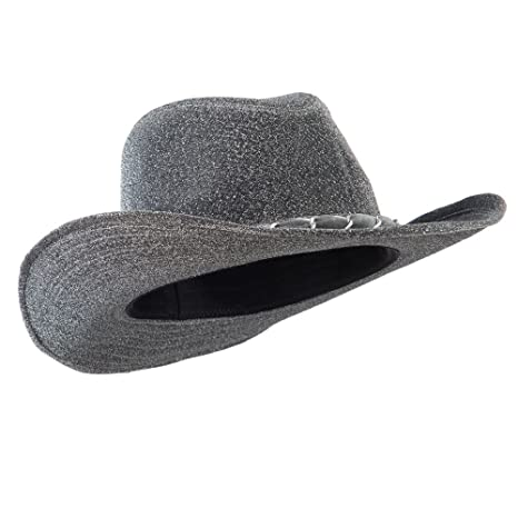 Glitter Cowboy Hat with Velvet Chain - Silver OSFM  Amazon.in  Beauty 3169fa030a5