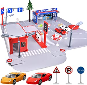 FunLittleToys City Gas Station Building Toy Car Garage Toy with 2 Metal Cars