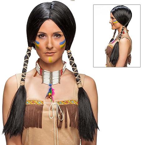 NET TOYS Pelo de India Cabello Falso Mujer de Indio Negro Peluca Carnaval Pocahontas Cabellera Larga