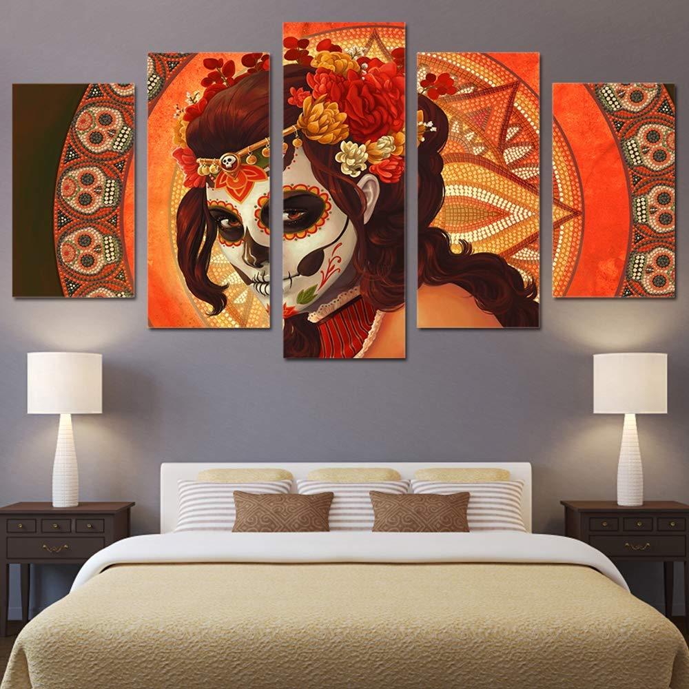 JSBVM Segeltuch HD gedruckt Wohnkultur Poster Malerei Wandkunst Modern 5 Panel Tag des Toten Gesichtes Sugar Skull Wohnzimmer Bilder