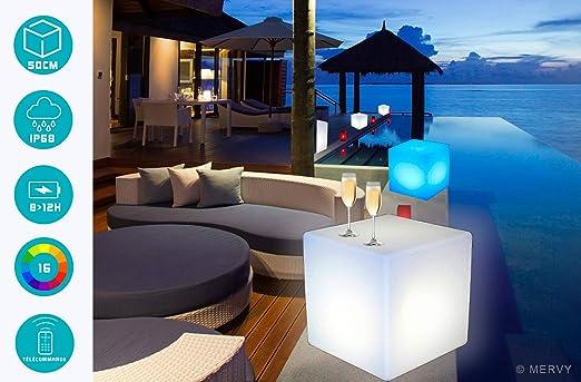 Cubo LED Pouf Tavolino Sgabello Luminoso multicolore + telecomandointerno – esterno – 50 cm