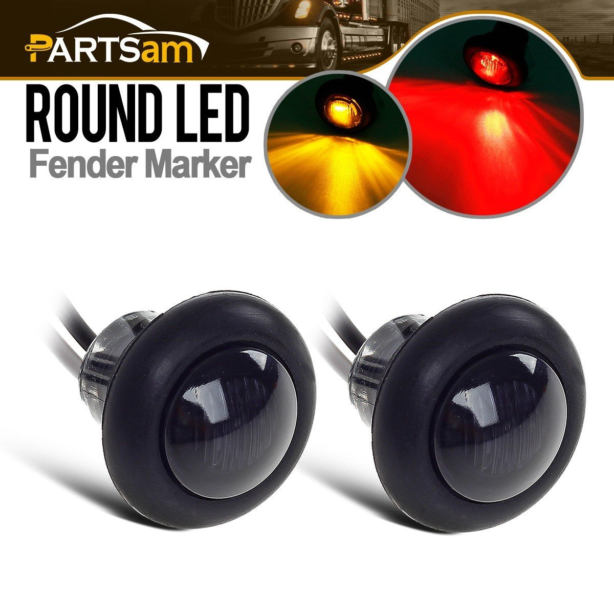 2) 3/4' Smoked Amber LED Clearance Marker Bullet Light/Rubber Grommet 1 LED For Truck Pickups FLush Mount Partsam 4333263493