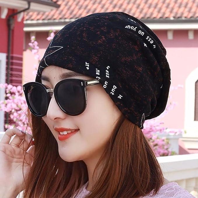 XINQING-MZ Hat la chica delgada Carta pauta bufanda Baotou cap cap ...