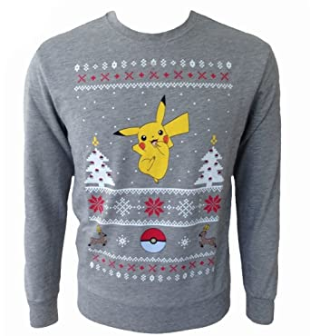 Pokemon Christmas Sweater.Pokemon Pikachu Christmas Sweater Sweater Mottled Grey S