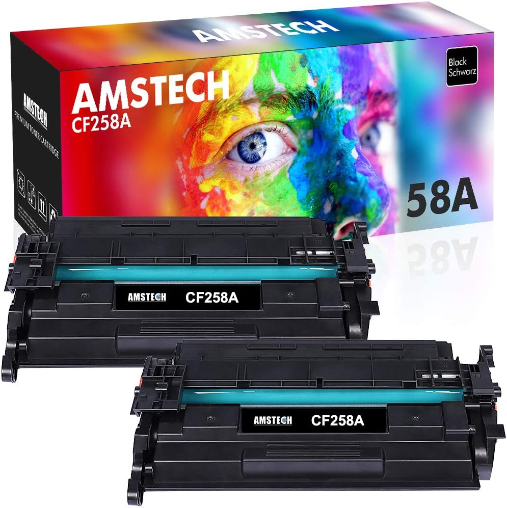Amstech Compatible Toner Cartridge Replacement for HP 58A CF258A 58X CF258X M428fdw Toner HP Color Laserjet Pro MFP M428fdw M404n M404dn M428fdn M404dw M428dw Toner Cartridges (Black, 2-Pack)