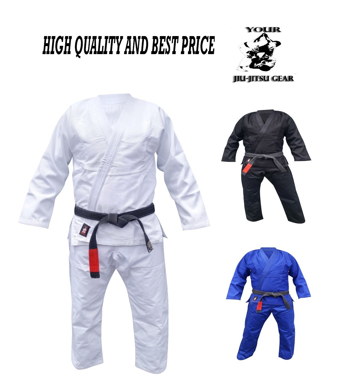 Your Jiu Jitsu Gear Brazilian Jiu Jitsu Uniform Light Weight A2 White Free Belt by Your Jiu Jitsu Gear