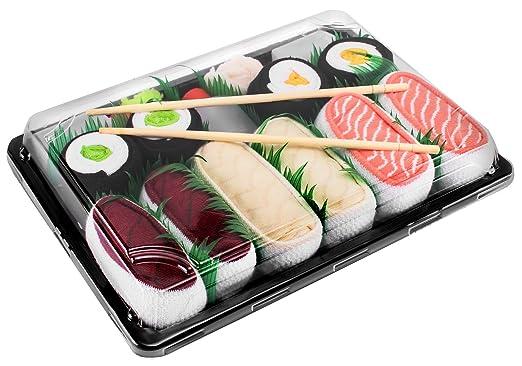 SUSHI SOCKS BOX 5 pairs Salmon Butterfish Tuna Maki FUNNY GIFT! Made in Europe L
