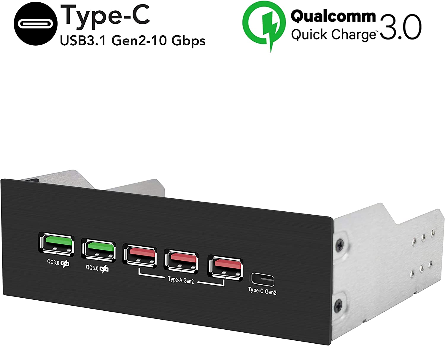 EZDIY-FAB 5.25in 10Gbps USB 3.1 Gen2 Hub and Type-C Port,Front Panel USB Hub with QC 3.0 Quick Charging