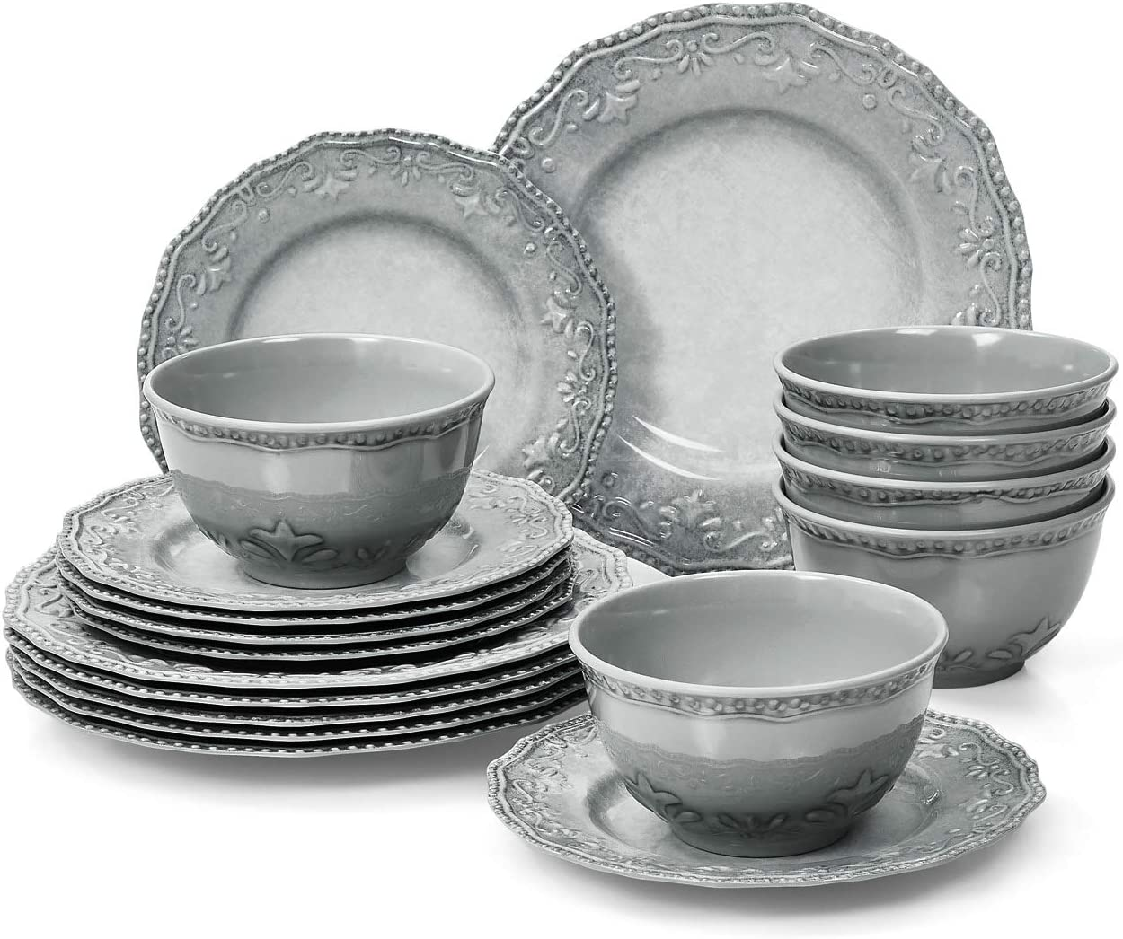 TP Dinnerware Set, 18-Piece Melamine Dishes Set, Dinner Service for 6 with Bowls and Salad Dinner Plates, Gray