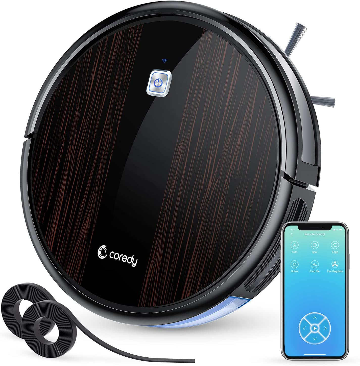 Coredy Robot Vacuum Cleaner, Wi-Fi Connected, 1700Pa Max Suction, Virtual Boundary Supported, Super Quiet Robotic Vacuums, Cleans Hard Floor to Carpet