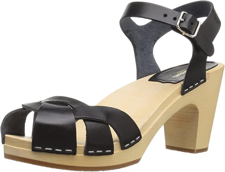 351b4700a7b8 swedish hasbeens Women s Kringlan Heeled Sandal Black 36 Regular EU (6 US)