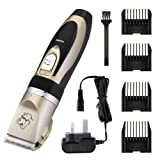 Electric Pet Grooming Clippers, OMorc Rechargeable Cordless Pet Hair Shaver, Grooming Trimmer Kit, with Low Noise Low Vibration, Cordless Pet Fur Grooming Set with 4 Comb Guides and Cleaning Brush for Cats and Dogs
