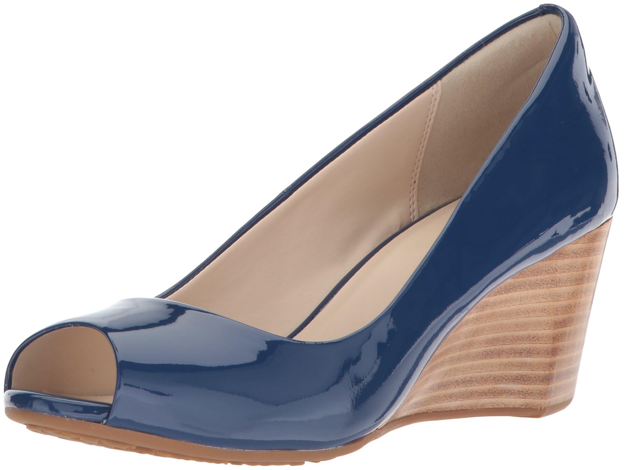 Cole Haan Women's Sadie Open Toe Wedge 65MM Pump, Navy Peony Patent, 5 B US