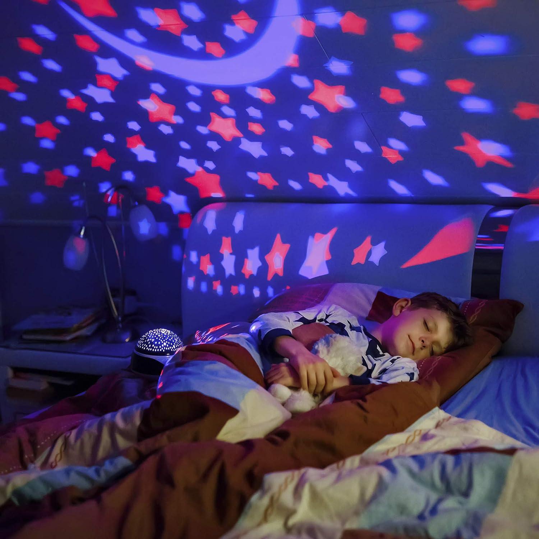 Regali per Bambini Luce Notturna con Telecomando e Musica Timer Regalo Neonato Luci Notturne a Rotazione per Cameretta Bambini con 9 Opzioni di Colori Ciano AnanBros Proiettore Stelle per Bambini