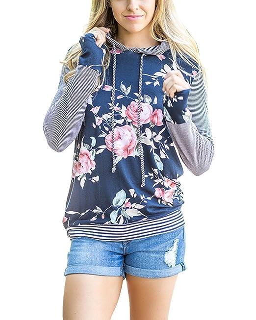 Minetom Mujer Otoño Invierno Sudaderas de Capucha de Manga Larga Impresión Floral Pullover Camiseta: Amazon.es: Ropa y accesorios
