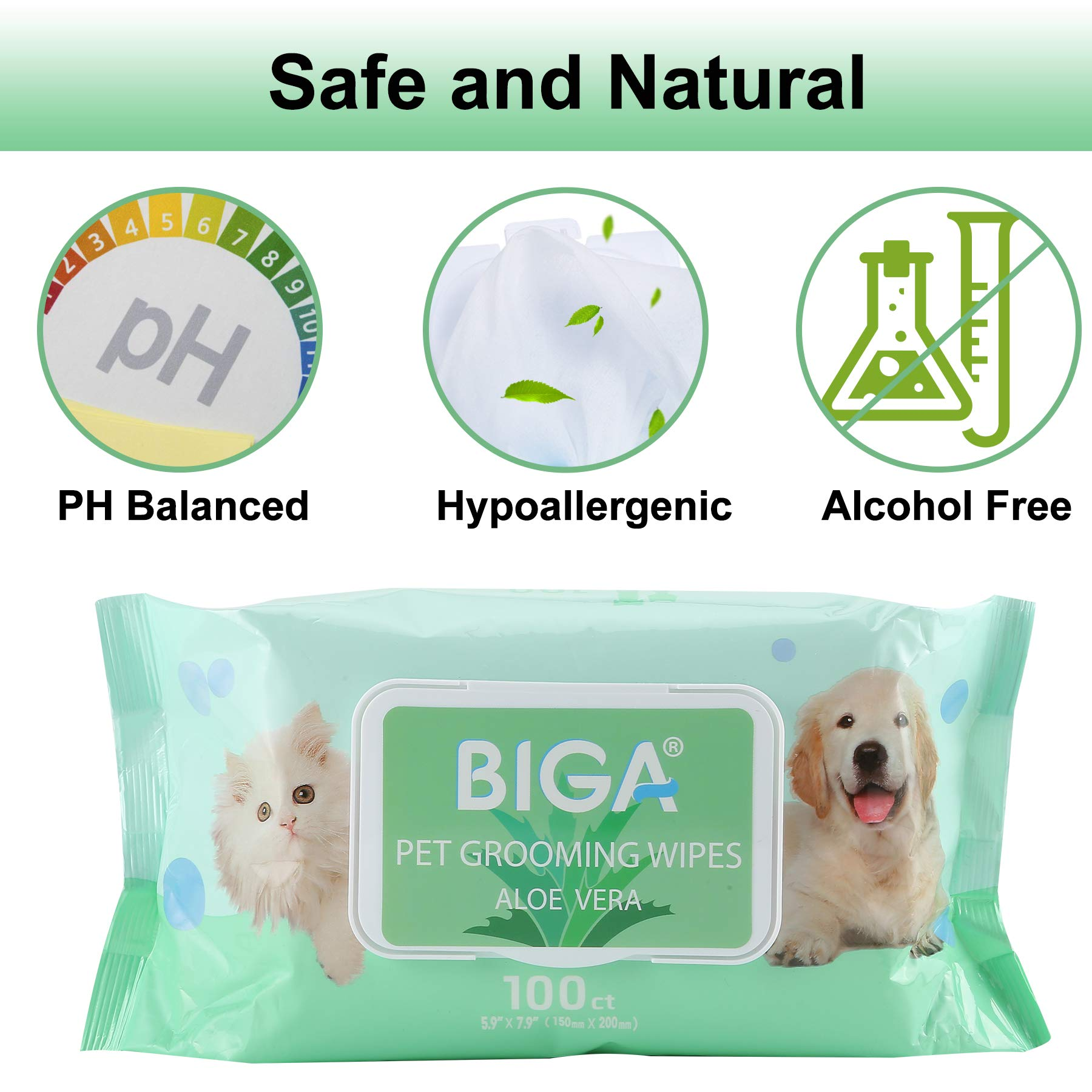 Deodorizing Hypoallergenic Pet Wipes with Fragrance Free Natural Organic and Antibacterial for Cleaning Face Butt Eyes Ears Paws Teeth 100ct per Pack (Aloe Vera 6 Pack) by BIGA (Image #3)