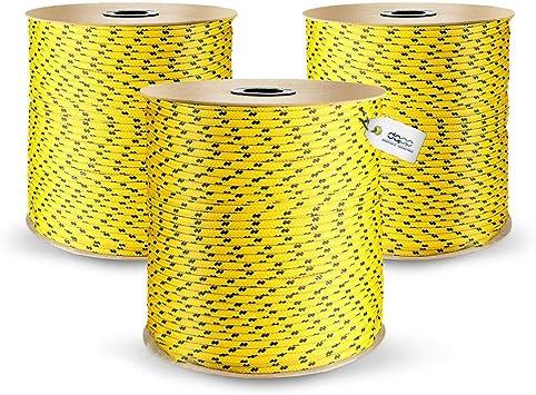 200m POLYPROPYLENSEIL 5mm GELB Polypropylen Seil Tauwerk PP Flechtleine Textilseil Reepschnur Leine Schnur Festmacher Rope Kunststoffseil Polyseil geflochten