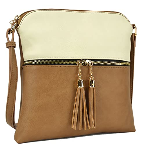 high quality materials meet hot-selling fashion Dasein Lightweight Medium Crossbody Bag Vegan Leather Shoulder Bag Small  Travel Purse with Tassel