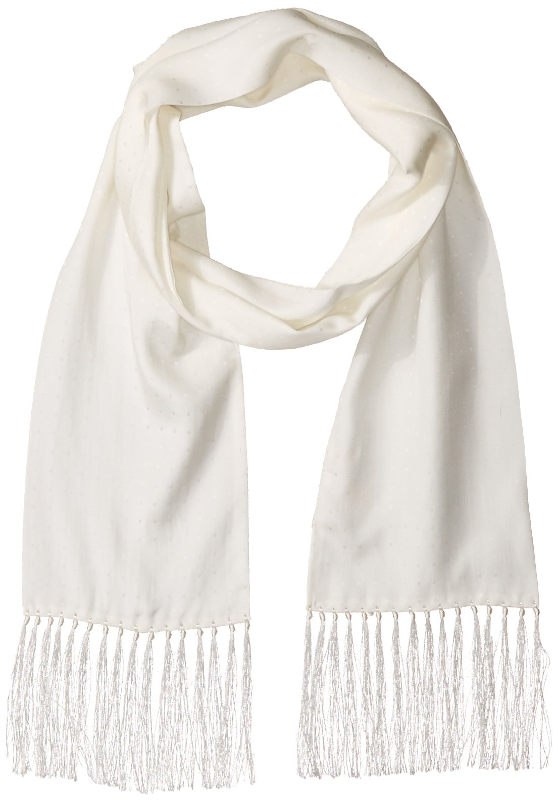 Hickey Freeman Men's Silk Jacquard White Polka Dot Tuxedo Dress Scarf, white/white, One Size