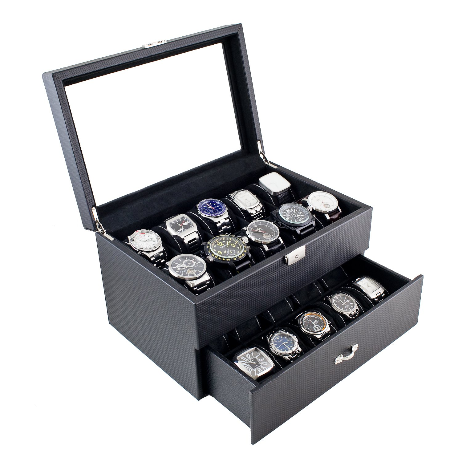 Caddy Bay Collection Carbon Fiber Pattern Glass Top Watch Case Display Storage Box Chest Holds 20 Watches With High Clearance for Larger Watches