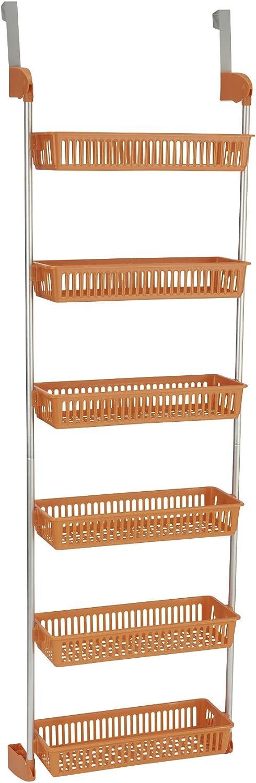 Household Essentials 6-Tier Basket Over-The-Door Organizer, Orange