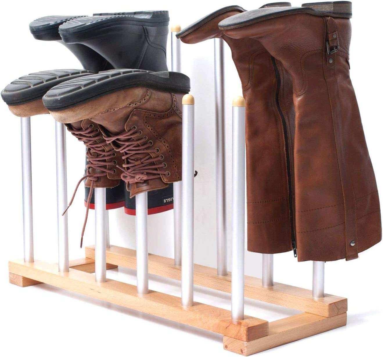 Amazon Com Innoka 6 Pairs Boot Rack Organizer Standing Wooden Aluminum Storage Holder Hanger For Riding Boots Rain Boots Shoes Easy To Assemble Space Saving Keep Boots In Shape Home Essentials Home