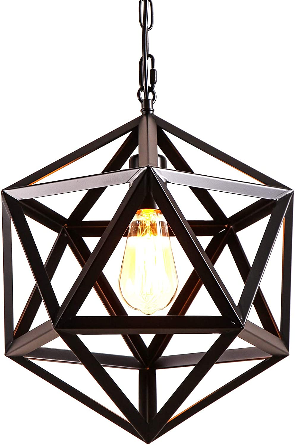 AIDOS Industrial Geometric Pendant Light, Polyhedron Vintage Wrought Iron Metal Cage Hanging Light Fixture for Bar Restaurant Kitchen Cafe, Matte Black Bulb not Included