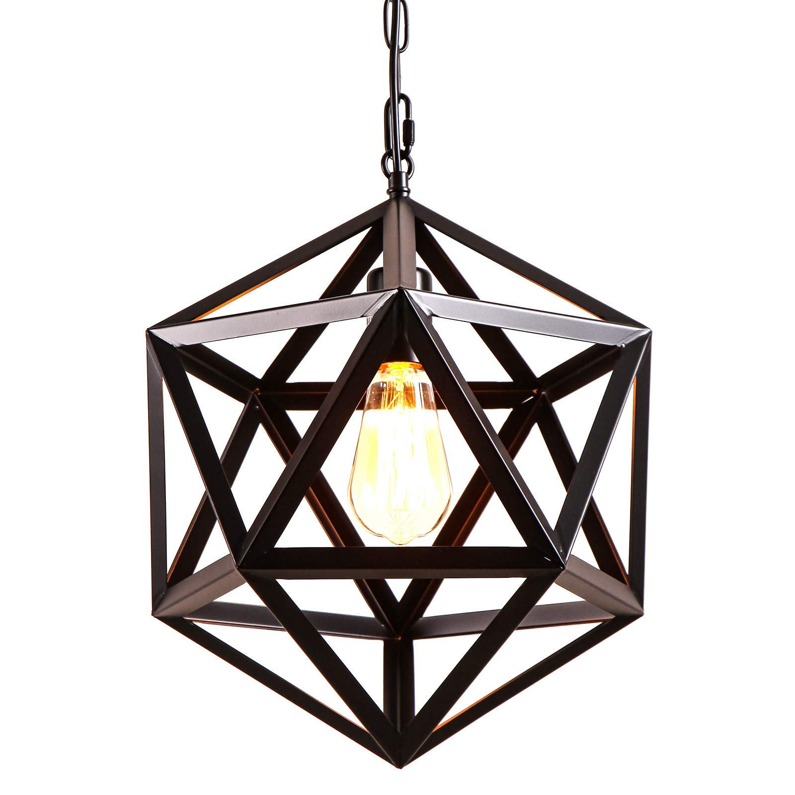 AIDOS Geometric Pendant Light Industrial, Matte Black, Polyhedron Pendant Lighting Vintage Industrial Wrought Iron Metal Hanging Light Fixture for Bar,Restaurant, Cafe, Farmhouse, Barn