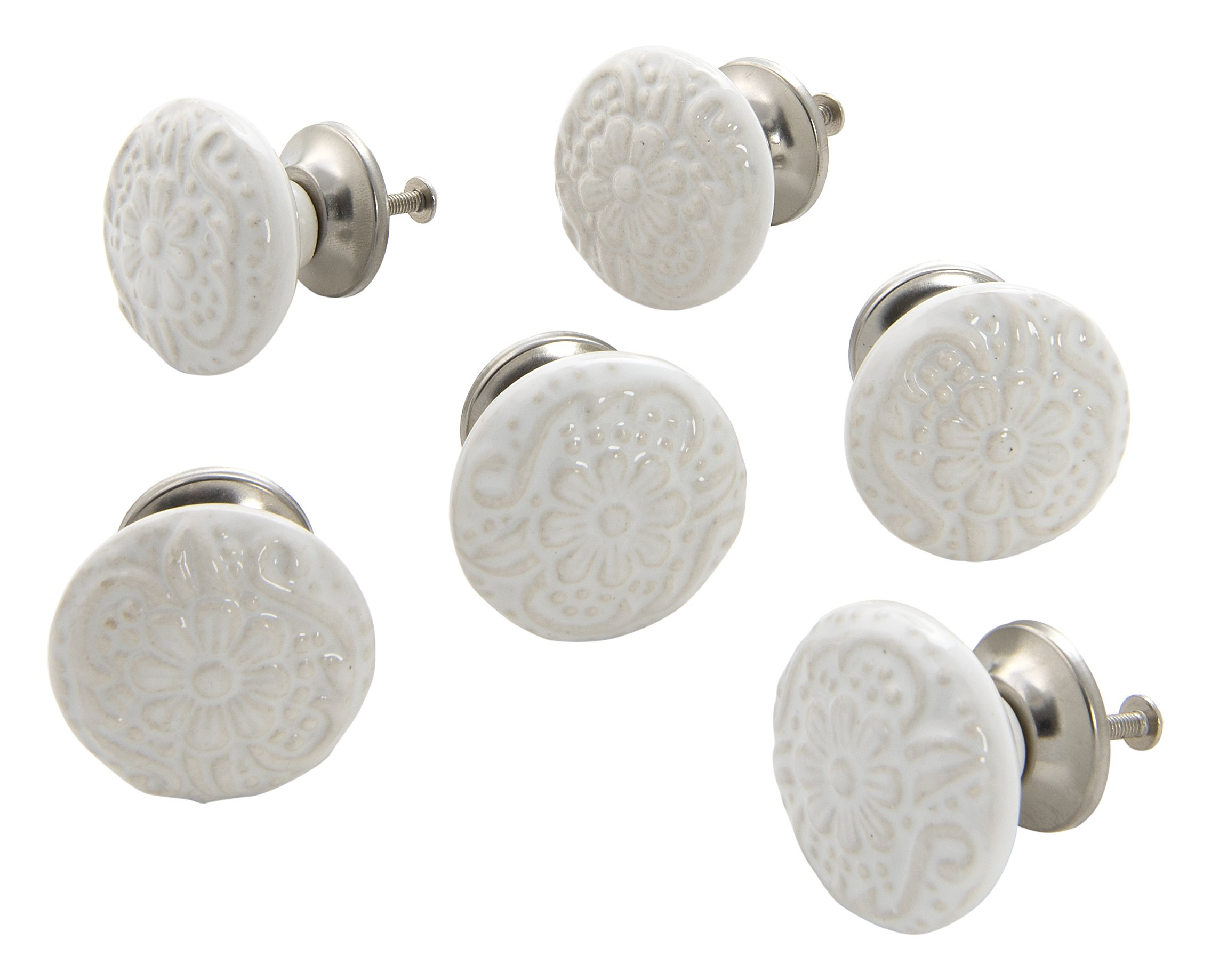 Dritz Home 47026A Ceramic Embossed Flower Knob Handcrafted Knobs for Cabinets & Drawers