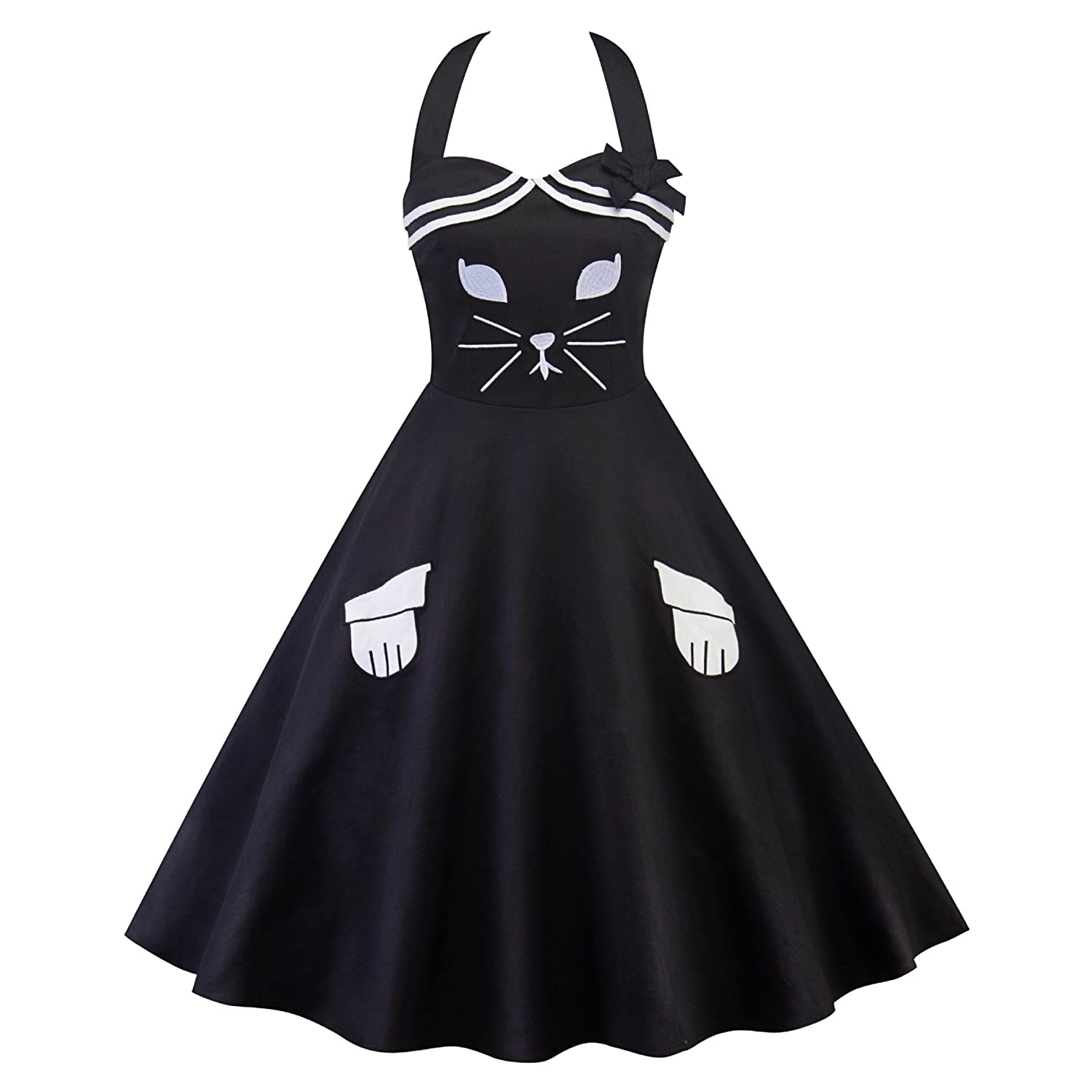 Wellwits Womens Cat Embroidery Sailor Stripes Halter Vintage Nautical Dress