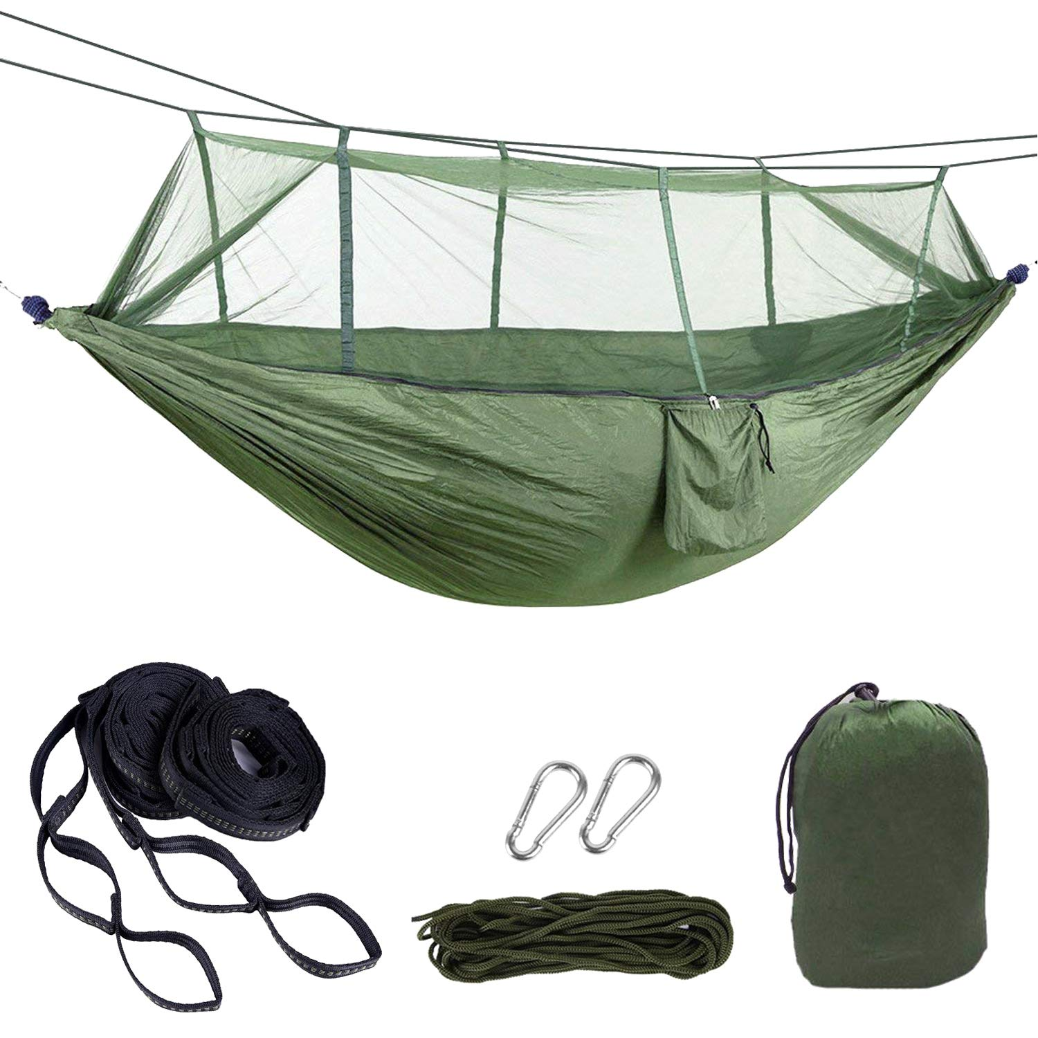 HENGQINAG 2 Person Camping hammock,High-Strength 530lb Hammock, Ultra-Light Mosquito Net Hammock, Suitable for Backpacks, Travel, Portable Hammock on The Beach. (Green) HENGQIANG