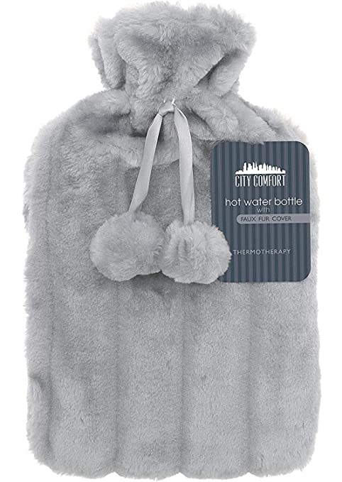 Hot & Cold Treatments Blumtal Hot Water Bottle with Cover; Premium Faux Fur Cover; Large 2L Capacity; Brown/White/Grey Health & Baby Care