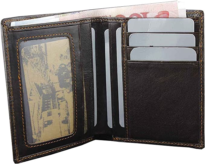 Crocodile Alligator Vintage Mens Genuine Leather Bifold Wallet Purse Biker Rock