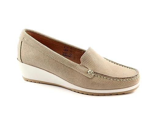 Cinzia Suaves 1810 Zapatos de Color Beige Mujer Mocasines cuña 39: Amazon.es: Zapatos y complementos